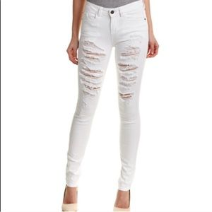 Alice and Olivia Distressed White Skinny Jeans